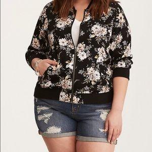 Torrid floral print twill bomber jacket 2X